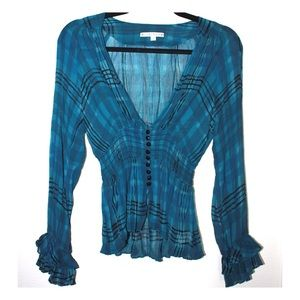 Nanette Lapore Silk Sheer Printed Femme Ruffle Top